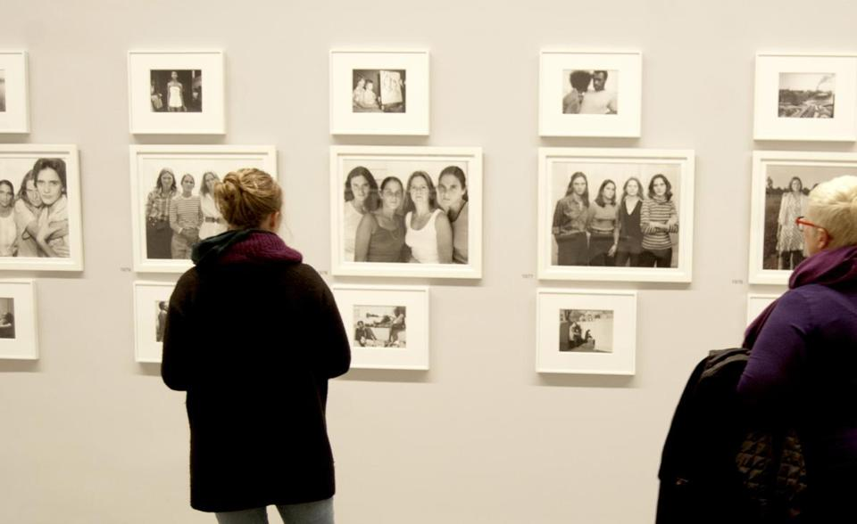 "Visitors viewed the exhibition ""Nicholas Nixon: Persistence of Vision"" at Boston's Institute of Contemporary Art."
